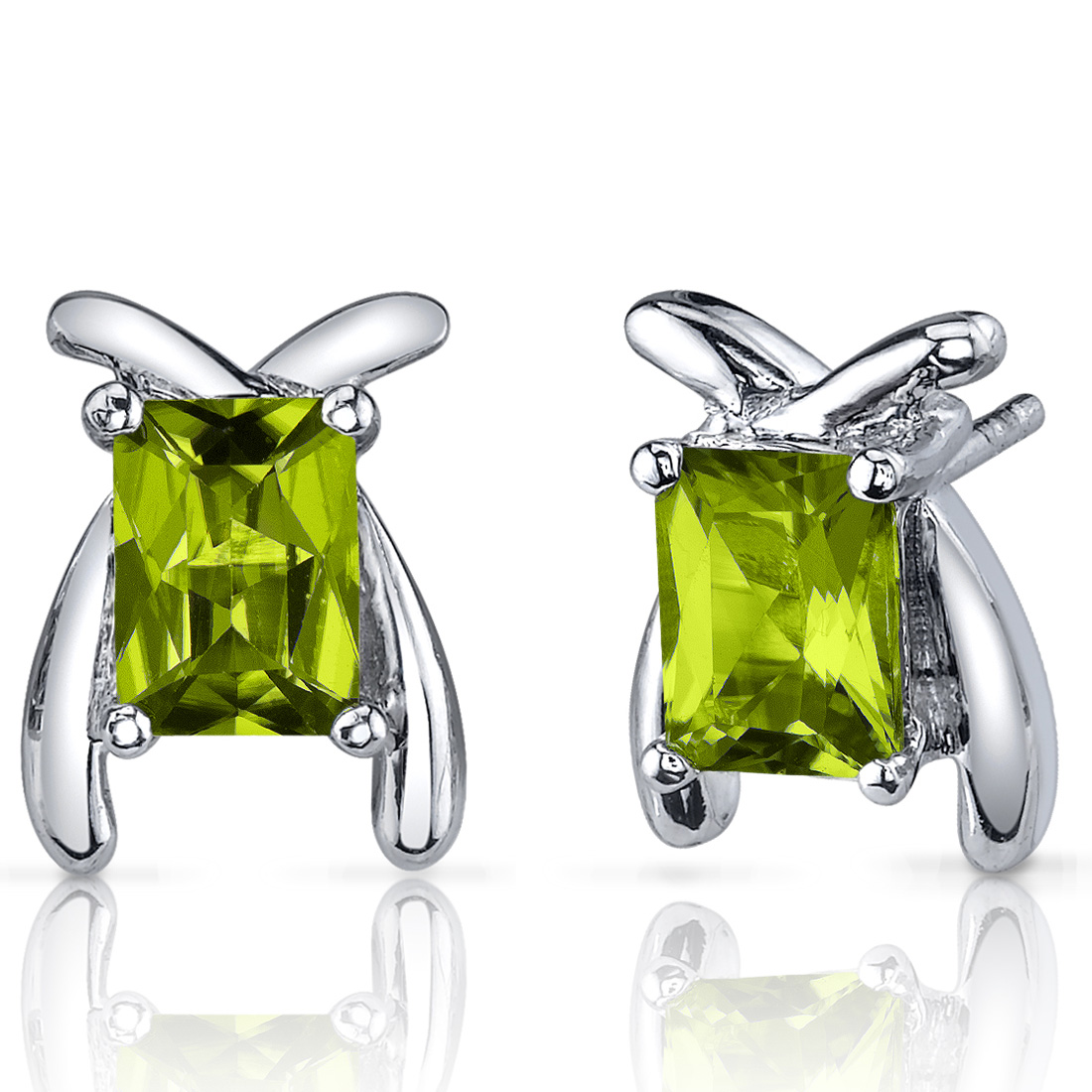 Peora 2.00 Ct Radiant Cut Peridot Sterling Silver Stud Earrings Rhodium Finish
