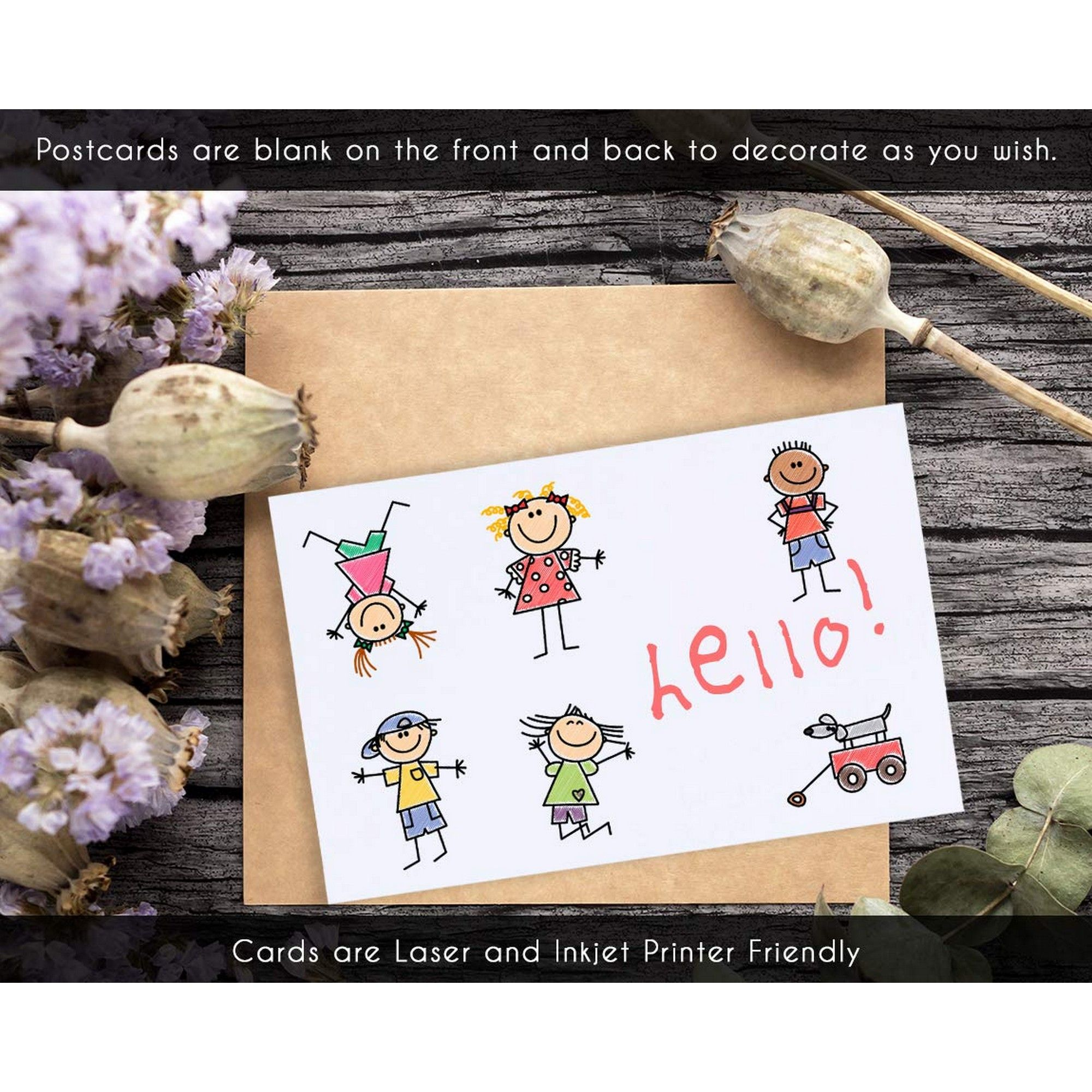Laser and Inkjet Printer Friendly Perforated White 2 Per Page 100-Sheet 200 Cards Blank Note Cards Blank Jumbo Postcards 8.5 x 5.5 Inches Per Postcard
