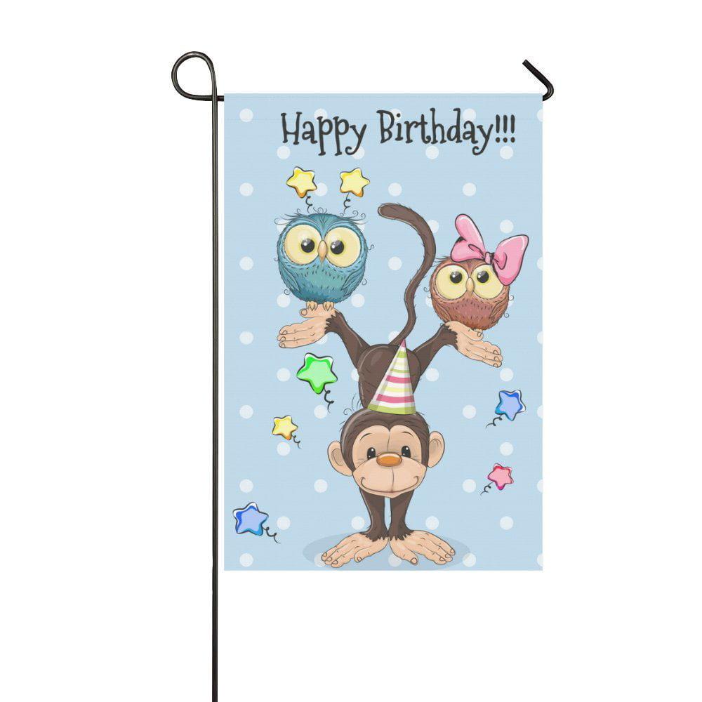 Garden Cute Cartoon: MYPOP Cute Cartoon Owl And Monkey Garden Flag Banner 12 X