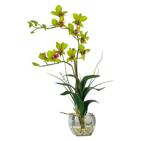Nearly Natural Dendrobium with Glass Vase Silk Flower Arrangement, Green - Led Lights For Flower Arrangements