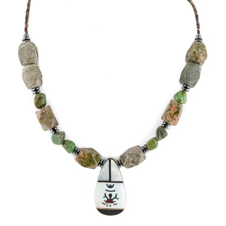 240 Retail Tag Kachina Authentic Made by Charlene Little Navajo .925 Sterling Silver Inlay Natural Turquoise Green Jasper Mother of Pearl Hematite Native American Necklace