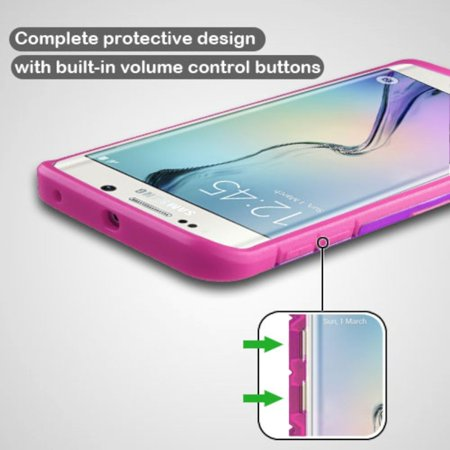 Insten Hard Rubber Coated Silicone Case w/stand For Samsung Galaxy S6 Edge - Purple/Hot Pink - image 7 of 9