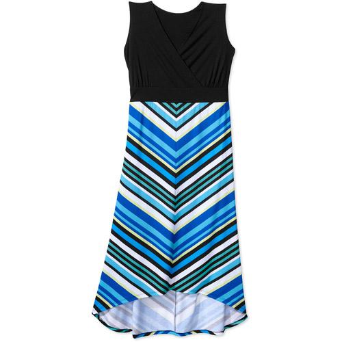 Faded Glory Women's Plus-Size Chevron Stripe Hi-Low Knit Maxi Dress