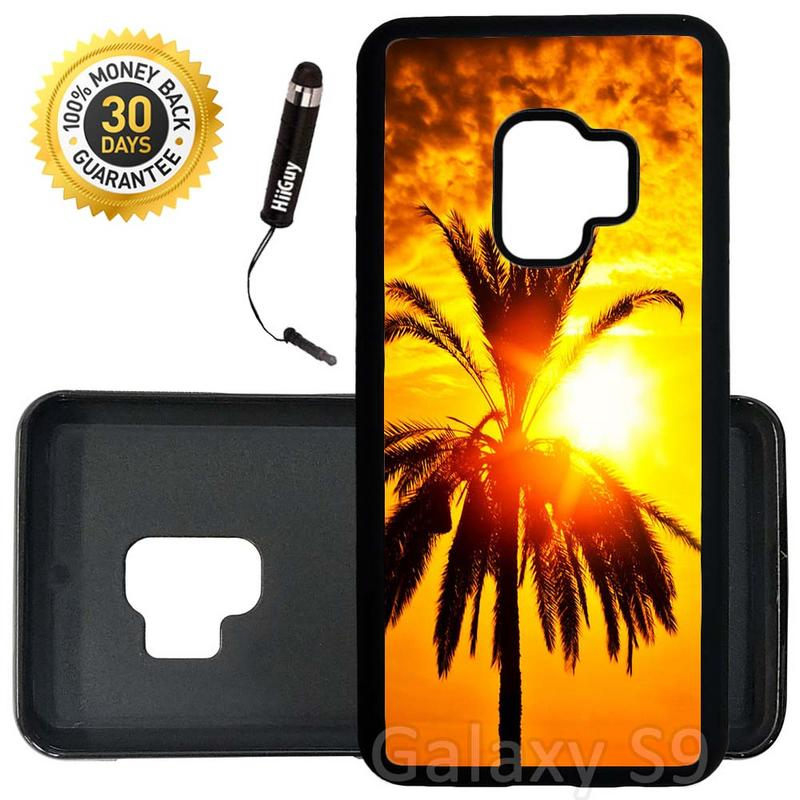 Custom Galaxy S9 Case (Palm Trees And Sunset Orange) Edge-to-Edge Rubber Black Cover Ultra Slim | Lightweight | Includes Stylus Pen by Innosub