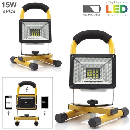 eTopLighting , 2-Pack,  Portable Outdoor LED Work Light Built-in Power Bank and Rechargeable Battery for Roadside Emergencies, Worksites, Garages , WMLS2604