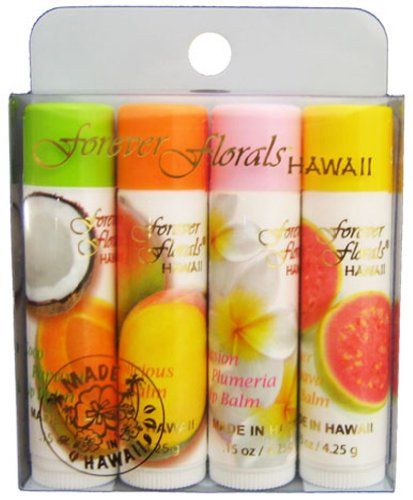 Hawaii Forever Florals Lip Balm Stick 4 Four Packs Assorted Daily Facial Scrub