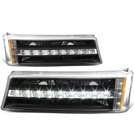For 03-07 Chevy Silverado/Avalanche Pair of LED DRL Stripe Black Housing Bumper Lights 04 05 (Jdm Black Housing Led)