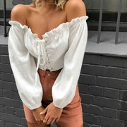 Off Shoulder Sexy Women Blouse Shirt Lace Up Long Sleeve White Shirts Short Bandage Crop Top