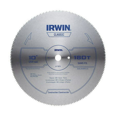 Power Tool Steel Saw Blade - Irwin 10 in. Dia. x 5/8 in. Steel Classic Circular Saw Blade 180 teeth 1 pk