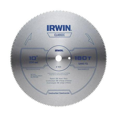 Irwin 10 in Dia x 5 8 in Steel Classic Circular Saw Blade 180 teeth 1