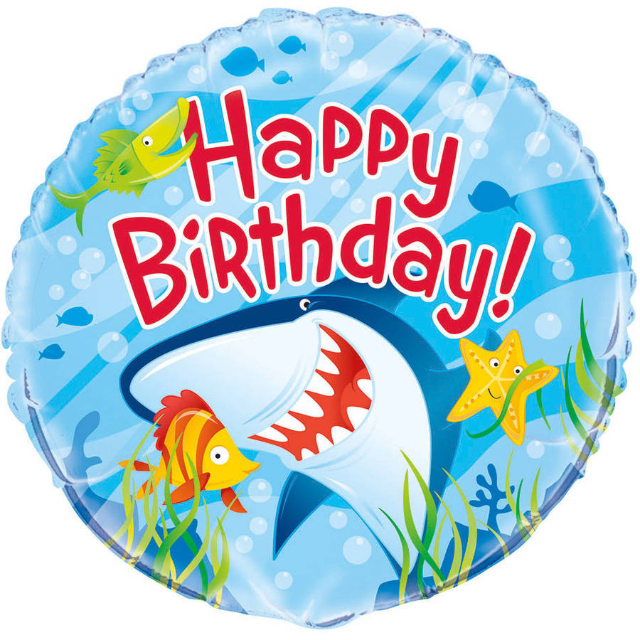 "18"" Foil Ocean Shark Birthday Balloon"