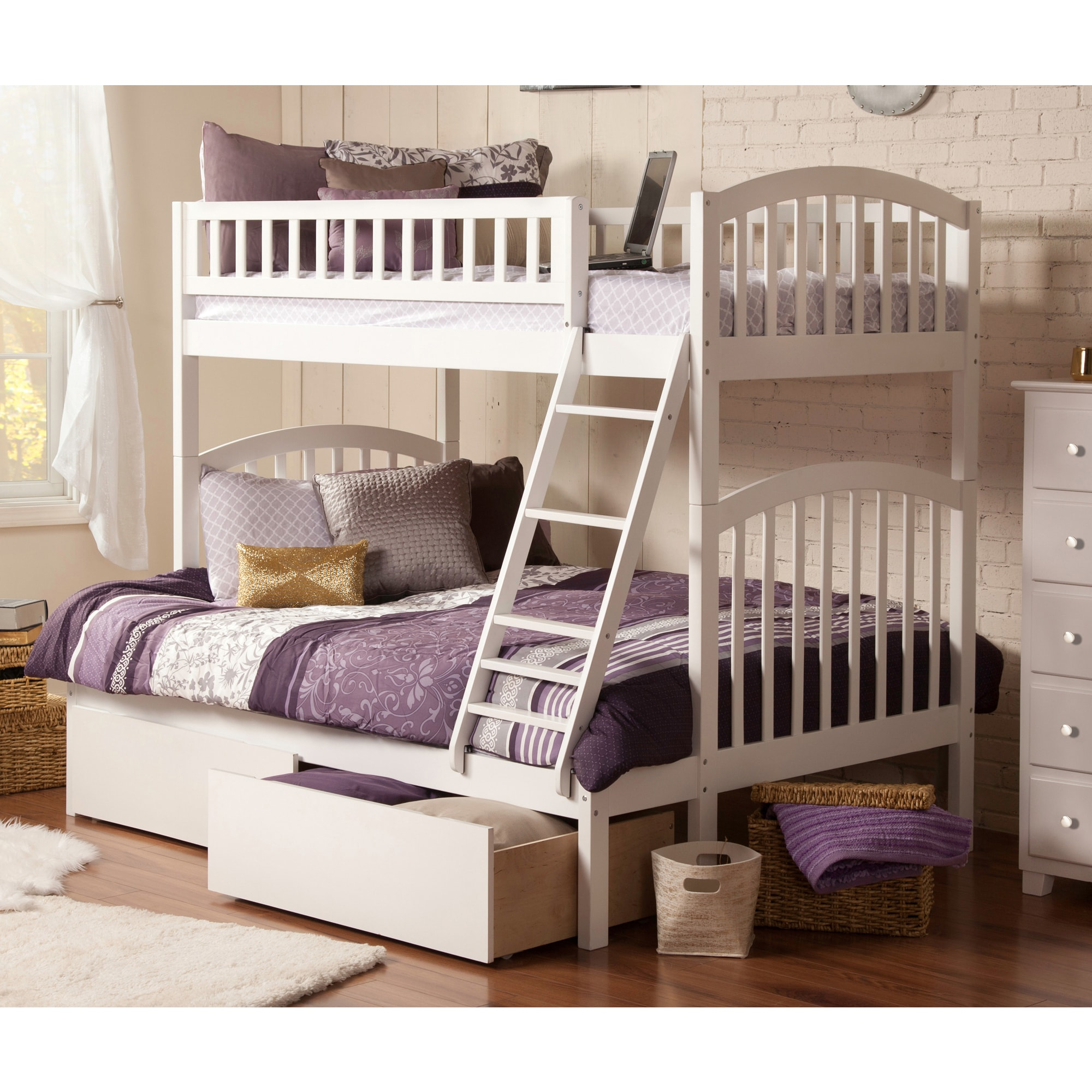 Atlantic Furniture Atlantic Richland White Wood Twin over Full Bunk Bed with 2 Urban Bed Drawers