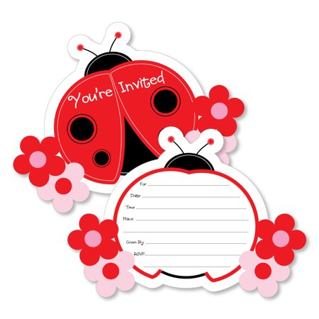 Modern Ladybug - Shaped Fill-In Invitations - Baby Shower or Birthday Party Invitation Cards with Envelopes - Set of 12 - Party City Ladybug