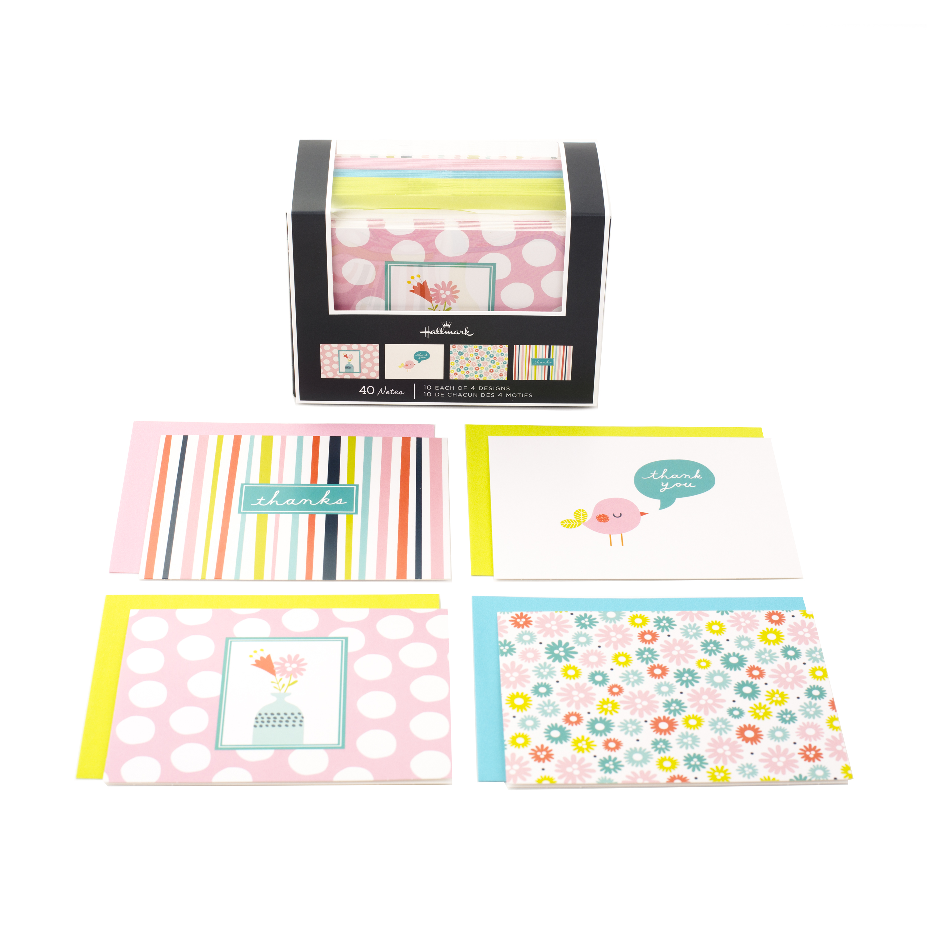 Hallmark Assorted Note Cards (Stripes, Floral, Polka Dots, Bird, 40 Cards and Envelopes)