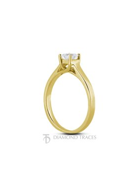 0.59ct H-SI3 Ideal Princess Cert Diamond 14k Gold Trellis Solitaire Ring 3.2mm