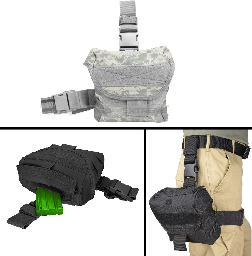Ultimate Arms Gear Tactical ACU Digital Camo Utility Multi Purpose MOLLE Dump Ammo Ammunition Magazine Stripper Clips Pouch Drop Leg & Belt Adjustments Universal Rifle Shotgun Pistol Gun