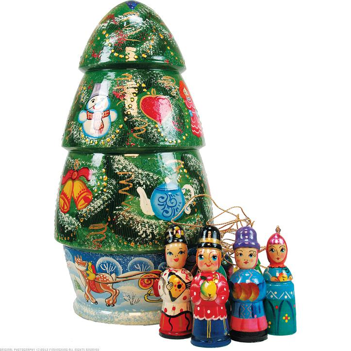 G. Debrekht 110803 Russia Nested Dolls Christmas Tree Doll Ornaments 9 inch