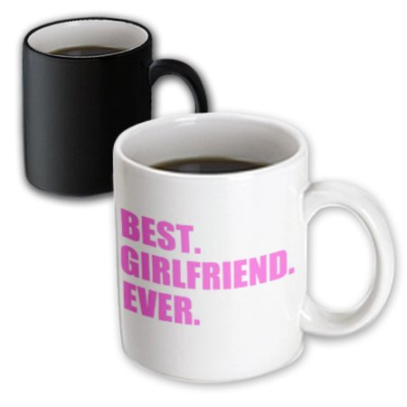 3dRose Pink Best Girlfriend Ever text anniversary valentines day gift for her, Magic Transforming Mug,