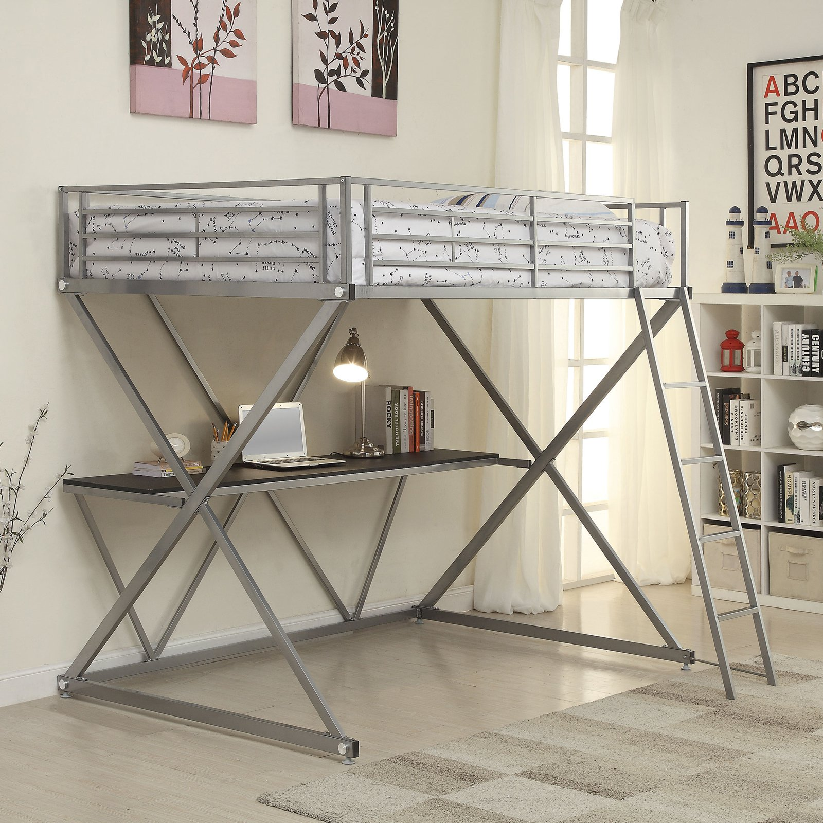 "Coaster ""X"" Workstation Full Metal Loft Bed, Silver"