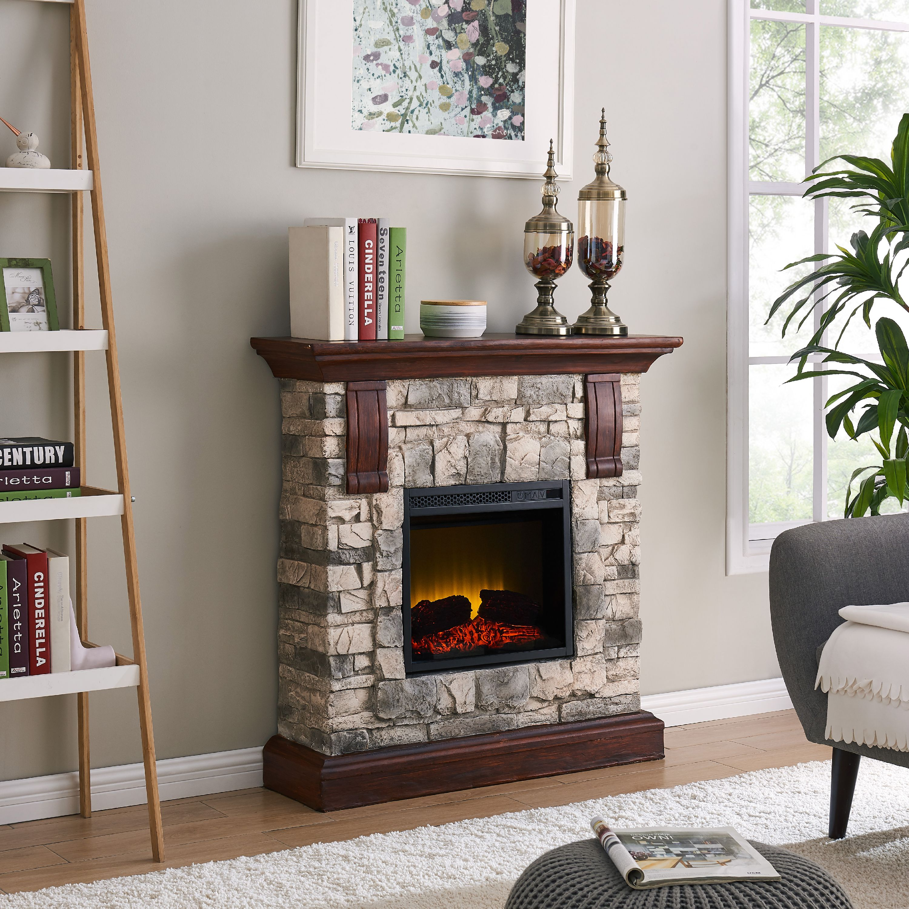 Bold Flame 40 inch Faux Stone Electric Fireplace in Tan Grey by BOLD FLAME