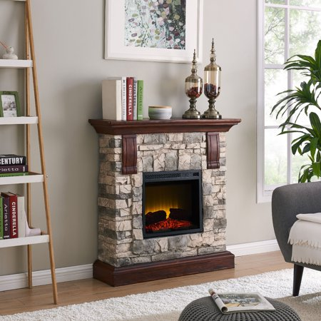 Bold Flame 40 inch Faux Stone Electric Fireplace in Tan/Grey - Fire & Flames