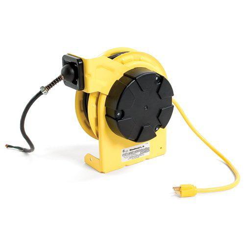Woodhead Yellow STANDARD Cord Reel 50ft 5-15 120V 8A 16-3 SJOW Cord Pigtail 980