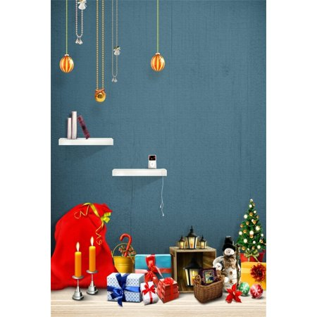 HelloDecor Polyster 5x7ft Christmas Backdrop Xmas Tree Gifts Candel Lamp Photography Background Infant Boy Kid Artistic Portrait New Year Snowman Photo Shoot Studio Props Video Drop Interior Decor - Halloween Photo Shoot Ideas For Infants