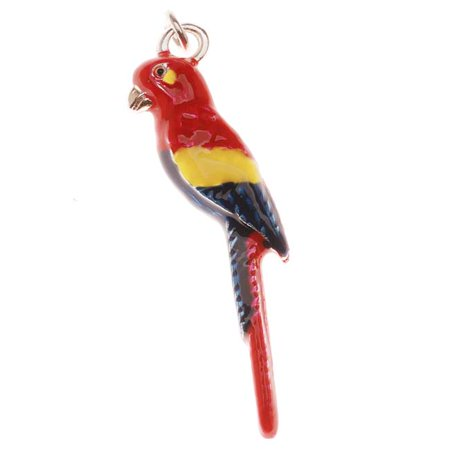 Enamel Tropical Fish Charm - Silver Plated With Colorful Enamel - Scarlet Macaw Tropical Bird Charm 33mm (1)