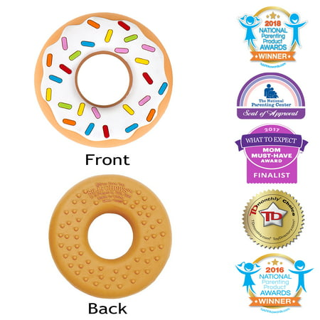 Silli Chews Vanilla Donut (Doughnut) Baby Teether Popular Teething Toy Food Grade Silicone Best Teething Toy Favorite Toddler Chew Toy Soother use Cold or Frozen Cute Holiday Gift Stocking (Best Teething Remedies For Babies)