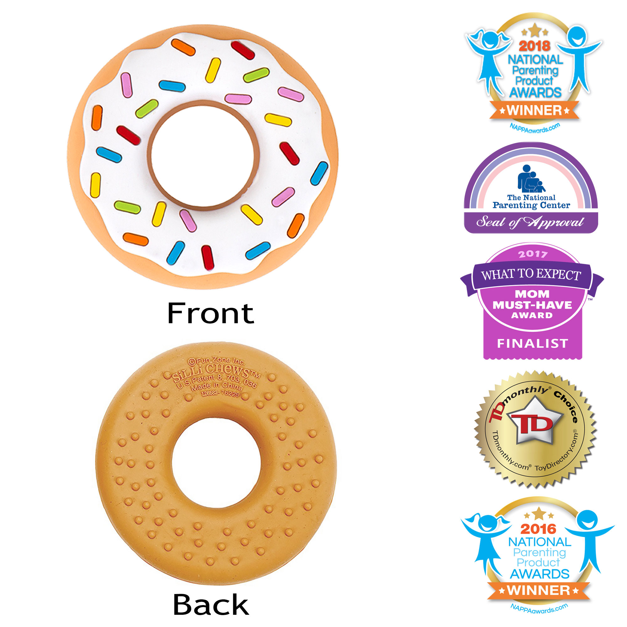 SilliChews Vanilla Donut (Doughnut) Baby Teether Popular Teething Toy Food Grade Silicone Best Teething Toy Favorite ToddlerChew Toy Soother use Cold or Frozen Cute Holiday Gift Stocking Stuffer