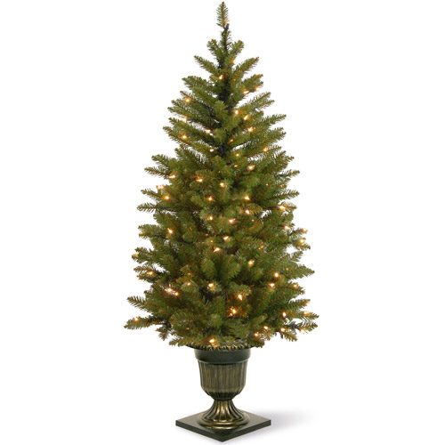 National Tree Pre-Lit 4.5' Dunhill Fir Entrance Tree with 100 Soft White LED Lights