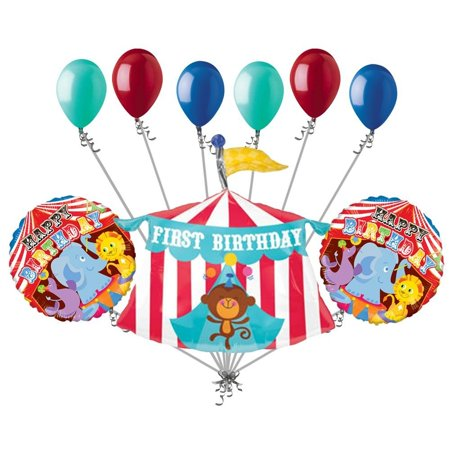 9 Pc Circus Tent 1st Happy Birthday Balloon Bouquet Decoration Party Monkey 1 23