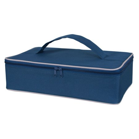 - KAF Home Portable Insulated Casserole Dish Carrier with Handle, Navy Blue, 3.5 x 14.5 x 8.75-Inches