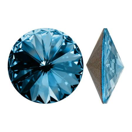 Aquamarine Swarovski Stone (Swarovski Crystal, #1122 Rivoli Fancy Stones 12mm, 4 Pieces, Aquamarine Sf)