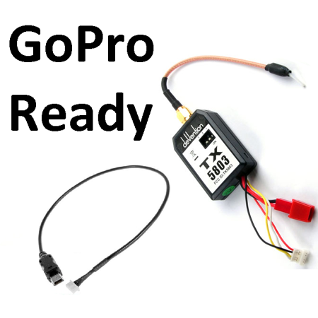 HobbyFlip 5.8GHz Video Transmitter 200mW w/ Video Cable for TX/Camera Compatible with GoPro Hero 3
