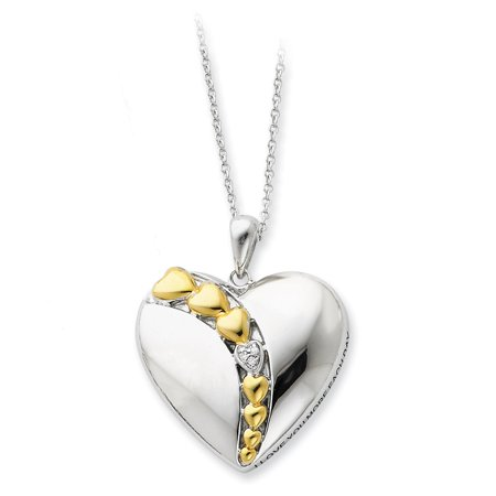 Sterling Silver & Gold-plated CZ I Love You More Each Day 18in Necklace 18 Inch - image 3 de 3