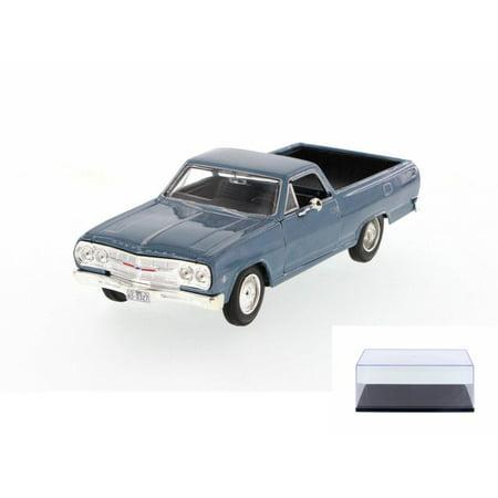 - Diecast Car & Display Case Package - 1965 Chevrolet El Camino Hard Top, Blue - Maisto 31977BU - 1/24 Scale Diecast Model Toy Car w/Display Case
