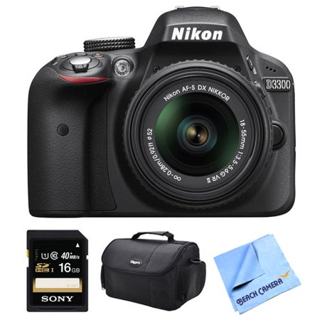 Nikon D3300 DSLR HD Black Camera with 18-55mm Lens, 16GB Card, and Case Bundle - Includes camera, 16GB memory card, and carrying case