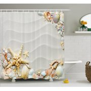 Starfish Decor Shower Curtain Seacoast With Sand Colorful Various Seashells Tropics Aquatic Wildlife Theme
