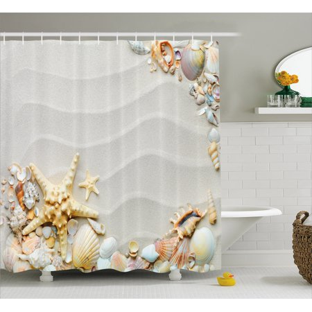 Starfish Shower Curtain, Seacoast with Sand with Colorful Various Seashells Tropics Aquatic Wildlife Theme, Fabric Bathroom Set with Hooks, Multicolor, by Ambesonne