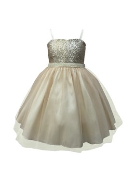 68277dde17a8 Product Image Big Girls Champagne Sequined Top Tulle Junior Bridesmaid Dress.  Precious Kids
