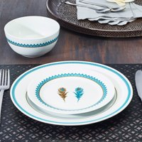 Deals on India Collection Teal Feather 12-Piece Porcelain Dinnerware Set