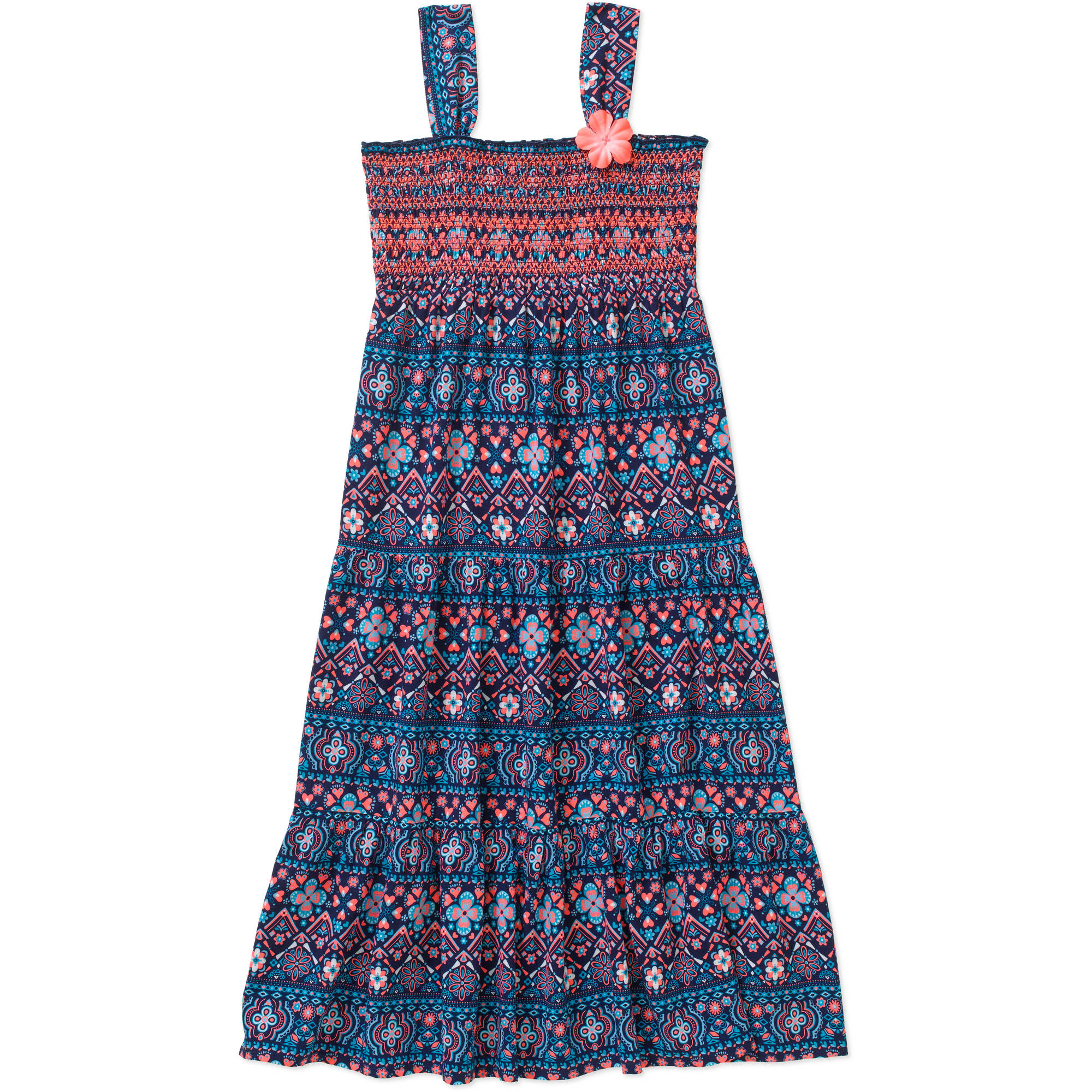 Faded Glory Girls' Smocked Challis Maxi Dress