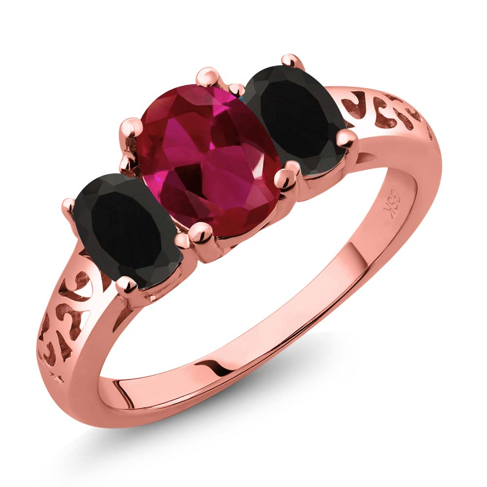 1.93 Ct Oval Red Created Ruby Black Onyx 18K Rose Gold Plated Silver 3-Stone Ring