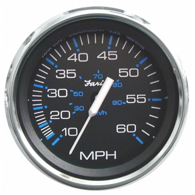 faria beede instruments 33704 4 in. black stainless steel speedometer - 60mph mechanical