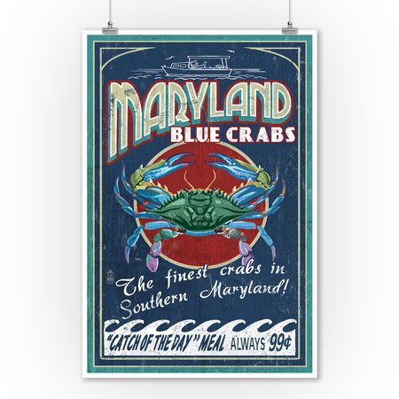 - Maryland - Blue Crabs Vintage Sign (#2) - Lantern Press Artwork (9x12 Art Print, Wall Decor Travel Poster)