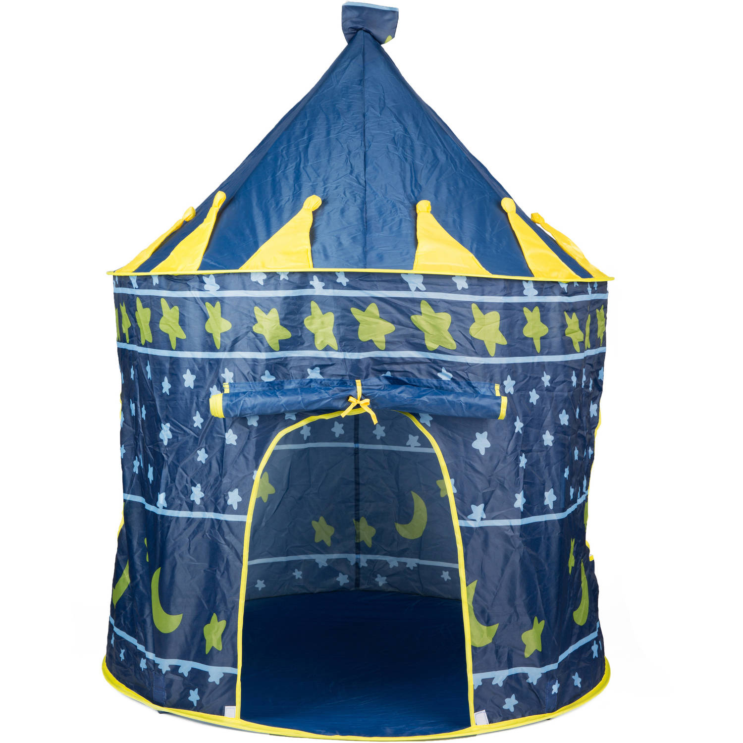 Kayata Mongolian-Style Tent with Stars and Moon, Blue