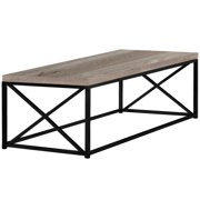 COFFEE TABLE - TAUPE RECLAIMED WOOD-LOOK / BLACK METAL
