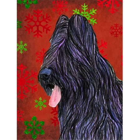 11 x 15 in. Briard Red And Green Snowflakes Holiday Christmas Flag Garden Size - image 1 of 1