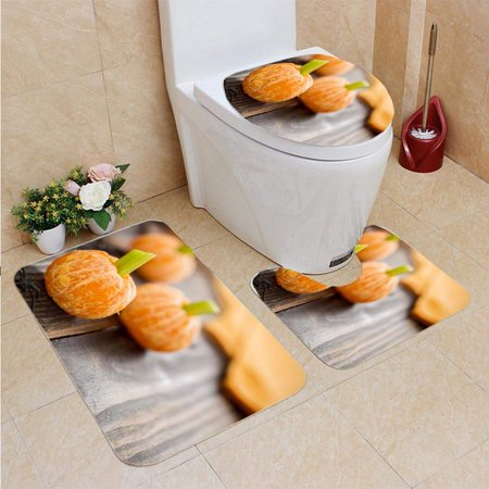PUDMAD Healthy Halloween Food Tangerine Pumpkins Snack Kids 3 Piece Bathroom Rugs Set Bath Rug Contour Mat and Toilet Lid Cover